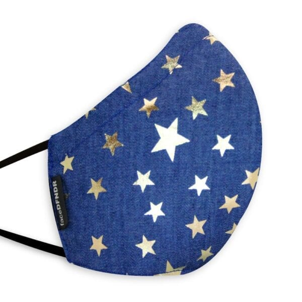 Denim Blue with Gold Stars
